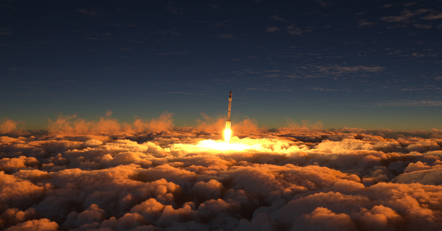 Rocket going through clouds