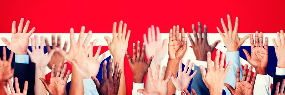 United Kingdom Flad with Raised Hands