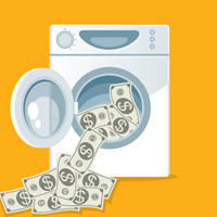 money in washing machine