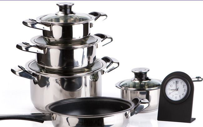 a stack of pots and pans