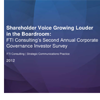 2012 Corporate Governance Investor Survey