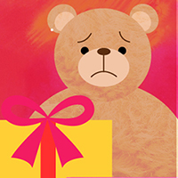 Sad brown teddy bear with yellow gift box and a red bow