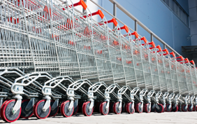 A line or row of shopping carts