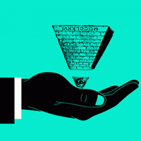pyramid upside down in hand