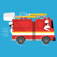 firetruck with bakers
