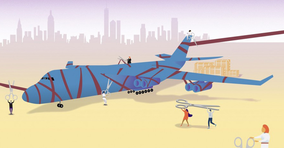 cartoon of an airliner getting wrapped like a gift