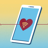 Cartoon of a heart on a smart phone