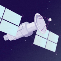 Cartoon of a satellite