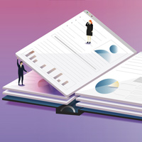 People Standing on Financial Report Illustration